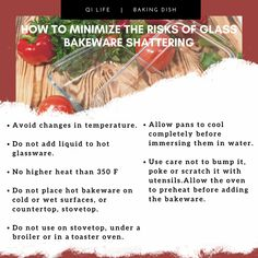 New bakewares comes with instructions for use and care and they do vary with brands. Unfortunately, we often discard this label and it's soon forgotten. Here are some general tips for safe use of glass bakeware. Glass Baking Dish, Bakeware, Label, Dishes, Tips, Food, Advice, Flatware, Meals