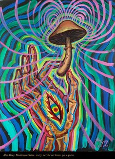 "I still love these pictures. Alex Grey, ""Mushroom Sutra"", 2007. Arcrylic on linen. 30 x 40 in."
