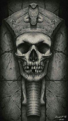"""Sixth illustration of the series """"ancient egypt"""". pencil on paper x skull faceskull tattoosbody Tatoo Art, Tattoo Drawings, Tattoo Caveira, Egyptian Drawings, Egyptian Tattoo Sleeve, Skull Reference, Egypt Culture, Geniale Tattoos, Egypt Art"""