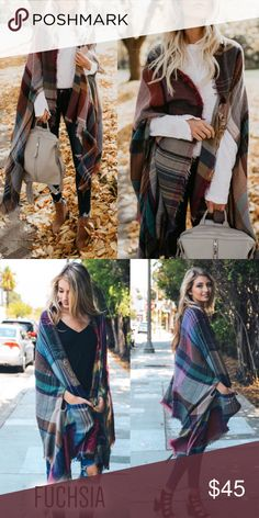 HELLO AUTUMN Wrap Fun plaid wrap with armholes and pockets.  ONLY PIC 2 COLOR (fuchsia)  AVAILABLE  NO TRADE  PRICE FIRM Bellanblue Sweaters Shrugs & Ponchos