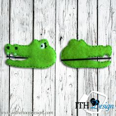 Free crocodile bobby pin cover embroidery design :)