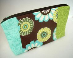 Brown  Large Cosmetic Bag Flat Bottom Zipper Pouch by JPATPURSES, $18.00
