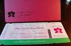 New to anaderoux on Etsy: Orchid embossed boarding pass invitation - SAMPLE (6.50 USD)