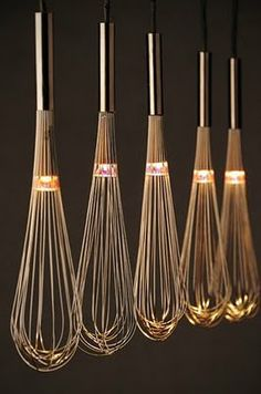 AGITATORS: Select metal agitators who handle them space to pass the cable, and place them in a metal or wooden rod, creating a modern lighting for the kitchen or dining room …