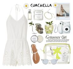 """Pack &Go Coachella"" by rever-de-paris ❤ liked on Polyvore featuring One Button, Fresh, Emma Lomax, Miguelina, Aéropostale, Polaroid, Herbivore Botanicals, Sun Buddies and Calvin Klein"