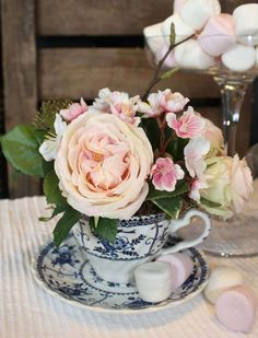 Rose (Dusky Pink) and Blossom in a Tea Cup | RTfact | Artificial Silk Flowers