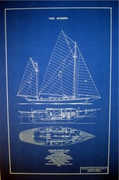 Racing schooner yacht atlantic 1905 blueprint plan boating and vintage 1905 sailboat yawl blueprint plan great decor 16 x 25 144 malvernweather Choice Image