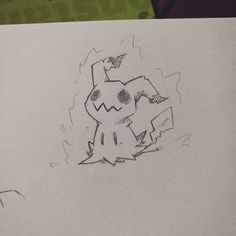 Mimikyu!!!  (supah quick sketch). Drew some ki around him, so he looks like the totem mimikyu from the ghost challenge. #sketch #doodle #art #draw #line #artwork #characterdesign #pokemon #linework #artist #sketchbook #wip #instaart #illustrator #study #mimikyu #anime #fanart #nintendo #ki #fairy #ghost