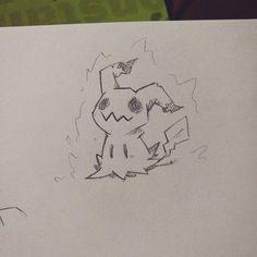 Mimikyu!!!  (supah quick sketch). Drew some ki around him, so he looks like the totem mimikyu from the ghost challenge. #sketch #doodle #art #draw #line #artwork #characterdesign #pokemon #linework #artist #sketchbook #wip #instaart #illustrator #study #mimikyu #anime #fanart #nintendo #ki #fairy #ghost