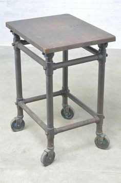 Industrial Factory Table Antique Iron Work Bench All Original USA
