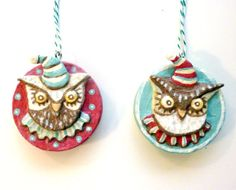 Owl Woodland Animals Christmas Ornament One of by ArtistInLALALand