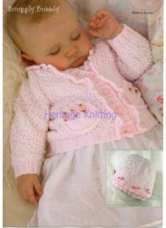 pink baby cardigan and hat knitting pattern by Heritageknitting1