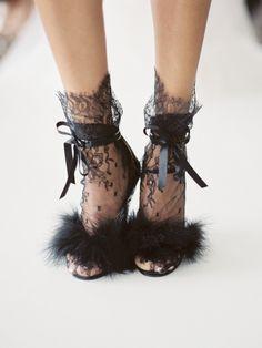 Lace furry black heels: http://www.stylemepretty.com/2017/05/07/marchesa-notte-spring-2018-bridal-week-2/ Photography: Love & Light - http://loveandlightphotographs.com/