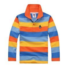 High Quality Boys Striped Cotton T-Shirts, Orange Stripes, 3-12 Years Old