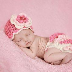 Newborn Baby Girl Hat and Diaper Cover, Baby Girl Crochet Set, Newborn Crochet Set, Photography Prop, Cream, Pastel Pink and Hot Pink