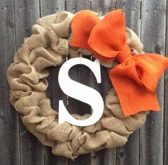 Bubble Wreath with Large Bow and Monogram