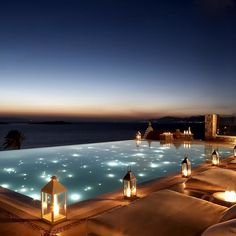 The Cyclades in Greece are no stranger to hotels with dramatic pools facing out to the Caldera, but we love this one for its Moroccan-style lanterns and special lights at night. Over on Santorini, the pool at Perivolas also affords wide-reaching views of the impressive volcanic formation. Bill & Coo, from about £280 a night with Mr & Mrs Smith (0845 034 0700).     - HarpersBAZAAR.co.uk
