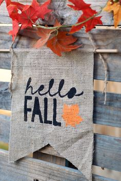 I am so excited to now add a line of these wall hangings! Of course you can stick them anywhere not just on a wall! Hang them on a door, from a sign, on a door knob, shelves, hooks...you name it! It really just adds a little touch of fall to your existing decor! This burlap banner is perfect for indoor or outdoor fall decor! Burlap pendents are now sealed to prevent fraying!   Not exactly what your looking for or what something a little different? Please leave me a message and I would be…