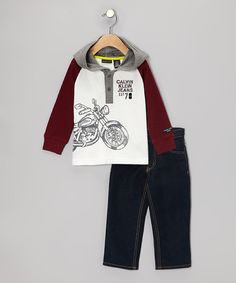 Take a look at this Calvin Klein Jeans Maroon Motorcycle Hooded Tee & Jeans - Infant & Toddler on zulily today!