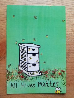 All Hives Matter Cute Bee Hive Bees POSTCARD Acrylic Painting On Reclaimed Wood Art PRINT By Scott D