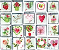 Hand made decoupage mosaic tiles with love theme (roses, hearts, strawberries, letters and others) to create splashes of color and texture in a mosaic or mixed media project. Love Valentines, Mosaic Tiles, Strawberries, Color Splash, Decoupage, Mixed Media, Roses, Hearts, Collections