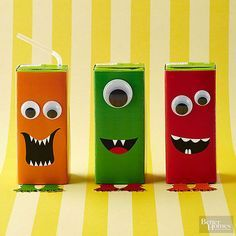 Don't be scared -- these monsters won't bite. Print out our monster patterns and wrap around juice boxes. Cut out feet and tape to bottom of box. Secure googly eyes as desired with glue.