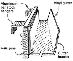 """Ladder/ Workmate tool holder - Use rain gutter and end caps, along with 1"""" x 4"""" scrap pine, and a couple of J shaped hangers to make a tool keeper for ladder rungs."""