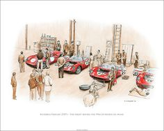 "Scuderia Ferrari Garage - The night before the 1964 24 heures du Mans. Car no. 20 won the race. 20""x 16"" Edition of 50  © Paul Chenard"