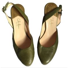 """Cole Haan Collection Nike Air Sz 7.5 Slingbacks 🔸 Cole Haan Collection Nike Air Sz 7.5 Slingbacks Pre Owned🔸 Please see picture 2, Front right heel has damage!! 🔸 Adjustable slingbacks🔸 Sage green 🔸3 1/2"""" heel🔸Good condition except the front right heel. Cole Haan Nike Air Shoes Heels"""