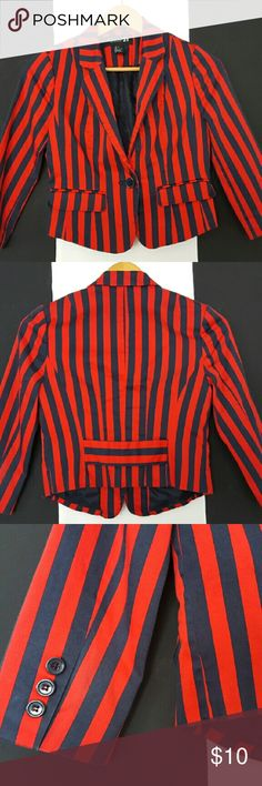 Red & Navy Striped Blazer Cool and casual red blazer with navy blue stripes from Forever 21. Actual color is more faded because of use, but still looks in great condition. Runs true to size small. Forever 21 Jackets & Coats Blazers