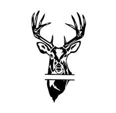split monogram deer head buck head design svg by OhThisDigitalFun