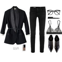 A fashion look from October 2013 featuring AG Adriano Goldschmied jeans, La Perla bras and Yves Saint Laurent ankle booties. Browse and shop related looks.