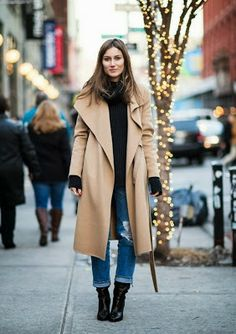 camel coat + black polo neck + boyfriend jeans