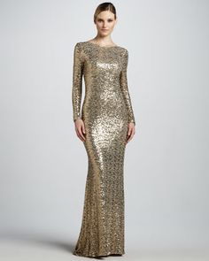 Sequined Gown with Cowl Back by Badgley Mischka Collection at Neiman Marcus. (I can so rock this dress!)