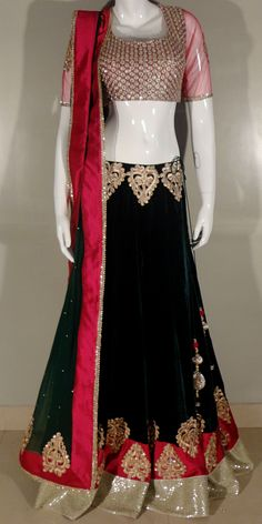 red and black velvet lengha