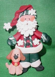 *POLYMER CLAY ~ SANTA Christmas Ornament w Puppy Dog Snowflakes Cake Topper