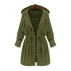 Zipper Closure Hooded Collar Trench Coat (43 AUD) ❤ liked on Polyvore featuring outerwear, coats, jackets, casacos, coats & jackets, green, hooded trench coats, leather-sleeve coats, hooded coat and long green coat