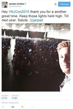 Jensen at #NJcon 2015 via Jensen's twitter (@JensenAckles) || Jensen Ackles #NJcon2015