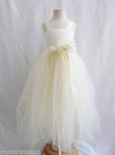 Ivory Toddler Dancing Ballet Wedding Party Tutu Tulle Flower Girl Dress Size 4T | eBay