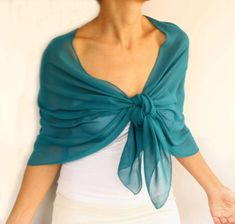 This pretty shoulder wrap shawl, scarf stole is made with multi chiffon fabric in solid dark turquoise color. Dim: It fits into 18.1x 61.4 (46x156cm) With its elegant and refined look, it can be worn during the day at the office or at a cocktail reception etc.  Available also in colors below; - cobalt blue: https://www.etsy.com/listing/517549345/cobalt-blue-chiffon-shawl-evening-bridal?ref=shop_home_active_3 -red: https://www.etsy.com/listing/...