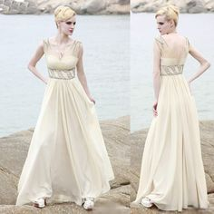 Unique Champagne Beaded Long Beach Wedding Bridal Cocktail Party Dress SKU-122348