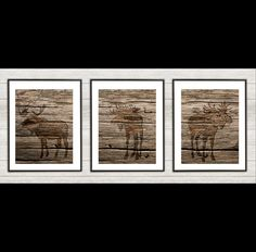 This listing is for three UNFRAMED (wood version) moose silhouette prints. Printed on Canon Professional Luster Photo Paper    For the same