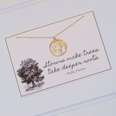 In silver Tree of Life necklace
