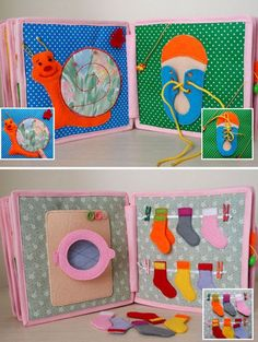 "A quiet book is the first book in the babys life that he/she can ""read"" independently. It is like a portable collection of funny images and educational activities for children to enjoy. This soft baby book offers hands-on experience in recognizing shapes, buttoning, snapping, braiding, and distinguishing textures. It also includes the game to guess an animal and what food this animal likes. This is a good sensory toy for the baby helping to develop the fine motor and cognitive skills, color…"