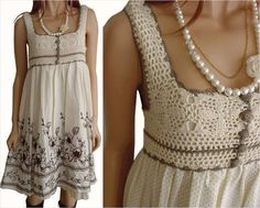 Combined model: crochet and fabric ~ Craft , handmade blog