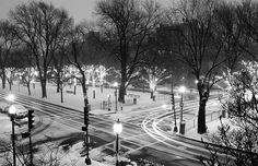 """""""Saturday Night Snow.""""    Commonwealth Avenue, Boston."""