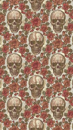Skull & roses pattern wallpaper