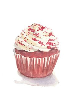 Cupcake Watercolor Food Art Original Painting by WaterInMyPaint, via Etsy.