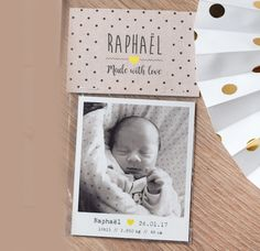faire-part naissance magnet kraft - un nouveau faire part naissance original avec photo polaroid magnetique aimantée et son emballage kraft recyclé