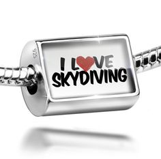 Sterling Silver Charm I Love Skydiving - Bead Fit All European Bracelets , Neon. Charm is made from solid 925 Sterling Silver. Fit Pandora and all European Charm Bead Bracelets. We have more then 60,000 different Beads and Charms. Hole size is approximately 4.8 to 5mm - Bead Size is 14mm x 9mm. I Love Skydiving.